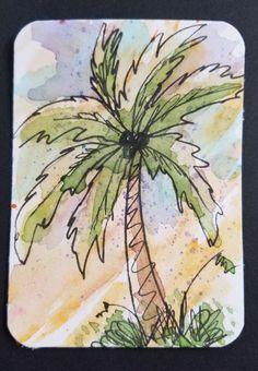 Van Gogh Watercolor, Watercolor Trees, Easy Watercolor, Watercolor Drawing, Palm Tree Drawing, Palm Tree Art, Palm Trees, Types Of Drawing, Dry Tree