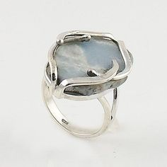 """Angelite Rough Sterling Silver artisan crafted Ring. DETAILS: * Angelite Ring * Size 8 * 5.8 g total weight * Set in SOLID .925 Sterling Silver * Stamped .925 * Measures approximately 3/4"""" x 1"""" This f"""