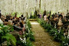 the cinderella project: because every girl deserves a happily ever after: Twilight Breaking Dawn + Wedding Trend Redwood Forest Wedding, Forest Wedding Venue, Enchanted Forest Wedding, Outdoor Wedding Reception, Wedding Venues, Outdoor Weddings, Wedding Ceremony, Wedding Sparklers, Woodland Wedding