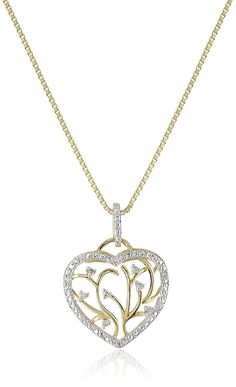 18k Yellow Gold Over Sterling Silver Diamond Accent Heart Pendant Necklace, 18' ** For more information, visit image link.