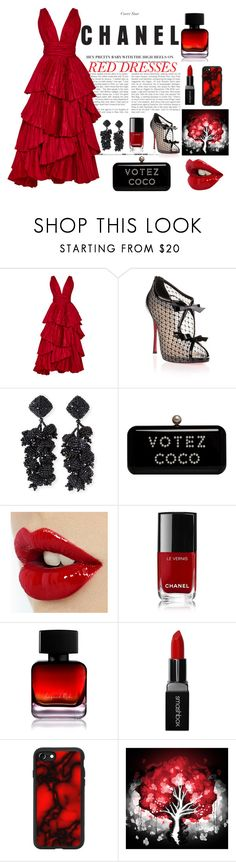 """""""red dress"""" by nejcka ❤ liked on Polyvore featuring Oscar de la Renta, Christian Louboutin, NOIR Sachin + Babi, Chanel, The Collection by Phuong Dang, Smashbox and Casetify"""