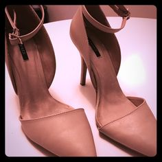 """Nude D'Orsay Ankle Strap Heels  ✨ New Arrival ✨  Add these staple heels to go with Any Outfit  4""""in Heel Shoes Heels"""