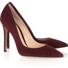 Gianvito Rossi Suede pumps ($675) ❤ liked on Polyvore featuring shoes, pumps, heels, sapatos, high heel pumps, pointy-toe pumps, pointed toe high heel pumps, suede pumps and suede slip on shoes