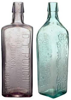 Pair of Cordials: O.T. Punch, J. Dixon Melbourne & Arthur Stirling, Sydney. c1900s & 1920s