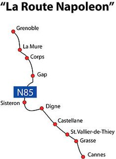 Route Napoléon is the route taken by Napoléon in 1815 on his return from Elba. It is now a 325-kilometre section of the Route nationale 85. The route begins at Golfe-Juan, where Napoleon disembarked 1 March 1815, beginning the Hundred Days that ended at Waterloo. The road was inaugurated in 1932; it leads from the French Riviera to the southern Pre-Alps. It is marked along the way by statues of the French Imperial Eagle.