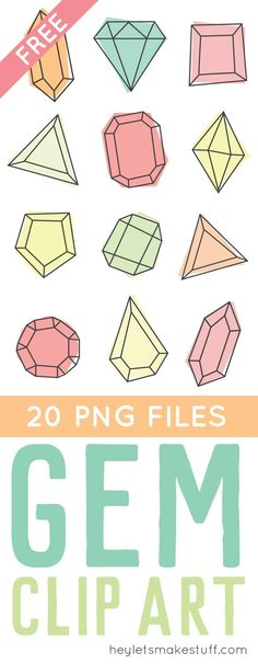 clip art freebies Gem clip art brings modern glam style to any of your projects! Perfect for nursery decor, baby showers, or anywhere else you need a touch of sparkle. Easy Paper Crafts, Fun Diy Crafts, Diy Craft Projects, Holiday Crafts, Free Printable Art, Free Printables, Gem Clip, Funky Fonts, Fall Clip Art