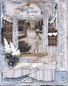 Lovely heritage Christmas page with a rolled and distressed frame and 'snow' painted chipboard embellishments. The frosty color palette really highlights the faded tones of the vintage photo.