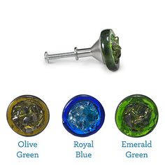 Glass knobs made from recycled wine bottle neck rings and broken glass.
