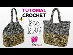 TUTORIAL BORSA UNCINETTO FACILE - BEE BAG - EASY CROCHET BAG - YouTube Loom Knitting Patterns, Knitting Stitches, Free Knitting, Stitch Patterns, Knitting Tutorials, Crochet Bee, Easy Crochet, Crochet Granny, Crochet Handbags