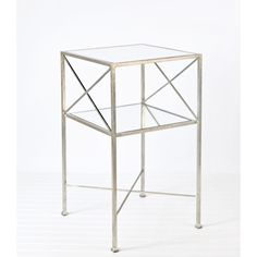 Two Tier Square Side Table with Silver Leaf by Worlds Away