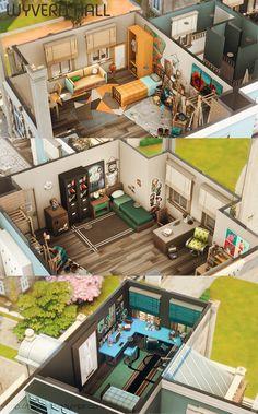 Sims 4 House Plans, Sims 4 House Building, Sims 4 Loft, Sims 4 Family, Sims 4 House Design, Casas The Sims 4, Sims 4 Cc Packs, Model House Plan, Sims Four