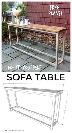 Pallet Table Plans diy sofa table free plans - An easy solution for a surface behind the sofa using off the shelf lumber. Make this simple sofa table using my free plans. Diy Sofa Table, Diy Furniture Couch, Sofa Tables, Diy Furniture Plans, Furniture Projects, Behind Couch Table Diy, Rustic Furniture, Furniture Movers, Antique Furniture