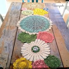 Table Runner from Lace Doilies for Country Cottage Decor Dyed vintage doily spring table runner by Sadie Seasongoods / Dyed vintage doily spring table runner by Sadie Seasongoods / Doilies Crafts, Lace Doilies, Crochet Doilies, Crochet Tablecloth, Crochet Granny, Free Crochet, Doily Art, Crochet Projects, Diy Projects
