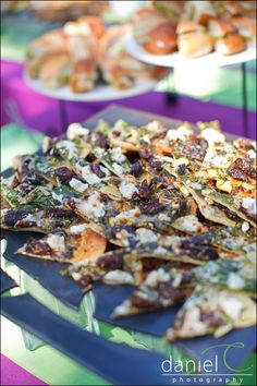 Austin Catering's Fig, Arugula, & Black Pepper Chevre Pizzettes Drizzled With Rosemary Honey