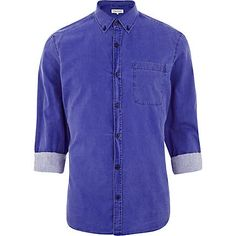 Royal blue washed roll sleeve shirt - long sleeve shirts - shirts - men