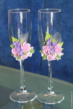 Купить Бокалы розы и сирень - разноцветный, свадебные бокалы, стеклянный бокал