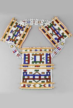 South Africa | Late 20th century collar necklace made by the Ndebele people | Glass beads, cotton
