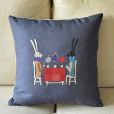 Bunny and Wine Print Decorative Pillow