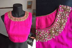 Pink blouse with kundan work
