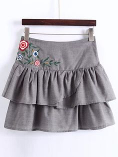 Shop Grey Embroidery Layered A Line Skirt online. SheIn offers Grey Embroidery Layered A Line Skirt & more to fit your fashionable needs.