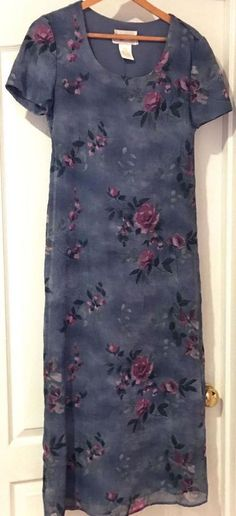 S L  Fashions Gray Plum Flowers Short Sleeve Full Length Dress Size 6 #SLFashions #Any