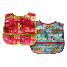 We have these bibs, would not recommend.  They work great at first, but wear out fast when you wash them a lot.  They work good for snacks that are not messy at all.