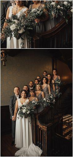 Winter wedding floral designed by Minneapolis wedding florist Artemisia Studios at Semple Mansion. Photos by Kiana Grant Photography (http://kianagrantphotography.com/). #wedding #mnwedding #semplemansion #flowers #floral #bride #groom #bridesmaids #groomsmen #bridesmaidsbouquets #bridalparty #weddingparty #florist #minnesotaweddingflorist #artemisiastudios