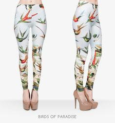 Birds of Paradise, 3D Printed, High Elasticity, Casual Leggings--One Size