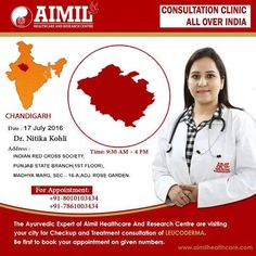 """#AimilHealthcare and Research Centre is organizing #ConsultationClinic for #Leucoderma Dr. Nitika Kohli is visiting #Chandigarh on 17th July '16  """"Be First To #Book Your #Appointment""""  Feel Free To #Ask Query : http://aimilpharma.life/AskYourQuery/ For #CampDetails : http://www.aimilhealthcare.com/camps/ Buy #Medicine #Online : https://www.aimilcare.life/search/lukoskin"""