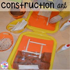 Construction art Construction themed centers and activities my preschool pre-k kiddos will LOVE math letters sensory fine motor freebies too Preschool Art Projects, Preschool Lesson Plans, Preschool Crafts, Craft Activities, Space Activities, Preschool Books, Preschool Themes, Preschool Classroom, Kids Crafts