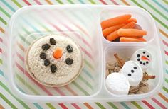 Adorable snowman lunch box! Reminiscent from Olaf from Frozen and a cute idea for snowy day lunches!