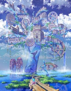 SF, fantasy, post-apocalypse, and other genre visual arts. Explore the visual aspects of imagined worlds. Fantasy City, Fantasy Castle, Fantasy Places, Fantasy World, Fantasy Art Landscapes, Fantasy Landscape, Landscape Art, Fantasy Concept Art, Fantasy Artwork
