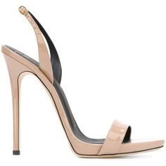 Giuseppe Zanotti Design 'Sophie' sandals ($565) ❤ liked on Polyvore featuring shoes, sandals, heels, heels stilettos, nude slingback shoes, ankle strap sandals, nude heel shoes and nude heel sandals