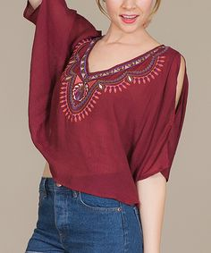 Flying Tomato Wine Tribal-Accent Hi-Low Top   zulily