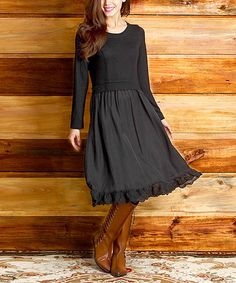 Look what I found on #zulily! Black Mixed-Media Fit & Flare Dress #zulilyfinds