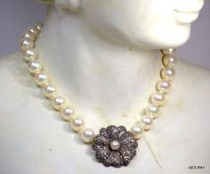 Vintage Judith Sterling Jack Marcasite Faux Pearl Art Deco Style Necklace