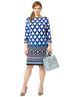 Plus Size ELIZA J Triangle Patterned Shift Dress