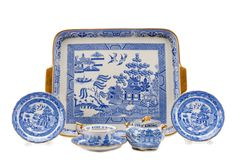 """Copelands China for Tiffany & Co. """"Auld Lang Syne"""" – Lofty Marketplace Form Architecture, Japanese Pagoda, Auld Lang Syne, Conifer Trees, Willow Pattern, Willow Tree, White Decor, Painting Patterns, Tiffany"""