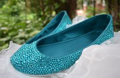 crystal bridal ballet flats ,Teal bridal shoes ,Teal wedding shoes ,comfortable shoes on Etsy, $99.99
