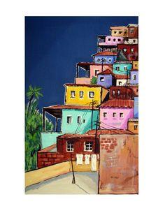 FAVELA PAINTING, Rio de Janeiro, Latin America ,Print 8.5x11. Free Shipping in USA. on Etsy, $20.00