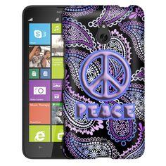 Nokia Lumia 1320 Peace on Pink Purple Paisley Black Slim Case