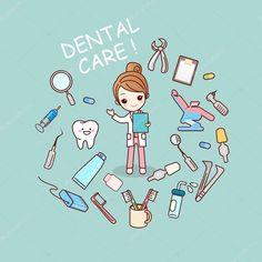 Descargar - Médico dentista con herramientas de dentista — Ilustración de stock