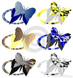 A colorful set with butterflies made with mosaic technique. A beautiful set that can be used for several projects concerning this insect.