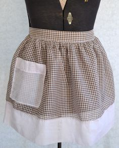 Pink and Brown Gingham Vintage Apron. $10.00, via Etsy.