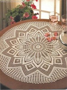 Crochet Art: Crochet Tablecloth Pattern - Elegant Decorative C. Crochet Tablecloth Pattern, Free Crochet Doily Patterns, Crochet Doily Diagram, Crochet Symbols, Crochet Mandala, Filet Crochet, Free Pattern, Knitting Patterns, Owl Patterns