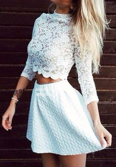 White longsleeve lace top