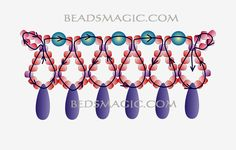 Free pattern for necklace Snow White - 2----------u need: pearl beads 4 mm, seed beads 11/0, Gemstones or daggers or drops
