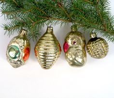Vintage Soviet Christmas decorations Set of 4 yellow mercury glass ornaments  Russian decorations pine cone ,  bauble , parrot , flashlight by BornInTheSoviet on Etsy https://www.etsy.com/listing/253295008/vintage-soviet-christmas-decorations-set