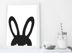 Hase Illustration Kinder Art Print, Digital Download, druckbare Poster Black & White Rabbit Kindergarten Wandkunst, Waldland Modern Kids Print