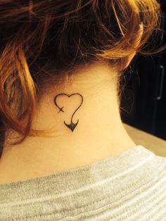 Love. Faith. Hope. Neck tattoo
